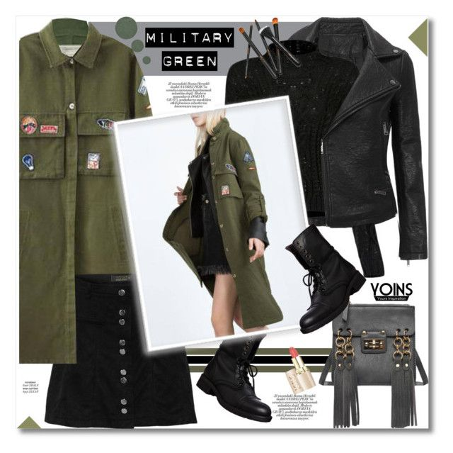 """Attention! Go Army Green"" by svijetlana ❤ liked on Polyvore featuring Mode, Current/Elliott, Steve Madden, Anastasia Beverly Hills, polyvoreeditorial, yoins und gogren"