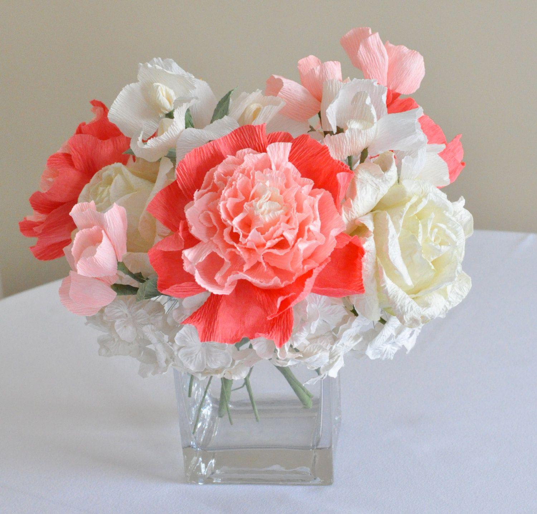 Wedding trends centerpiece coral paper flowers
