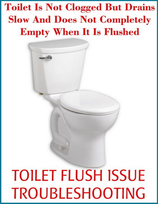 Toilet Is Not Clogged But Drains Slow And Does Not Completely