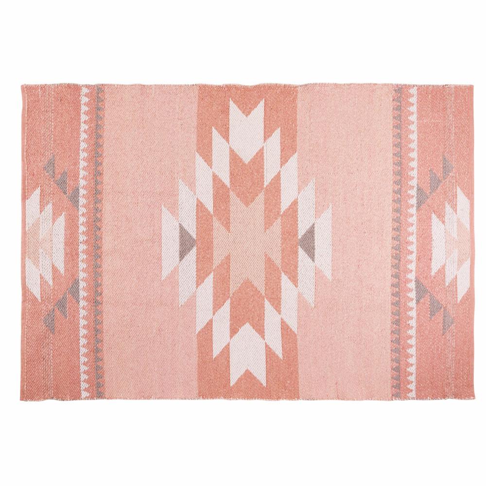 Tapis Ethnique En Coton Rose 180x120 Maisons Du Monde Geometric Rug Rugs Pink Rug