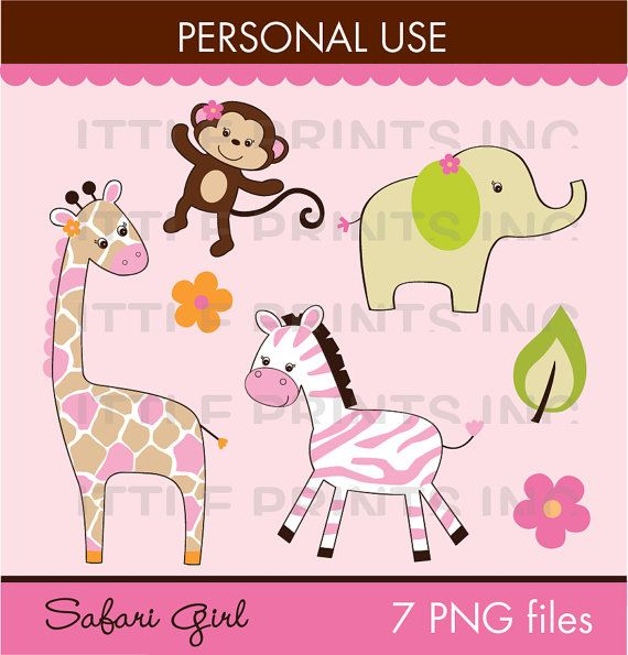 Safari Girl Jungle Animal Clipart PERSONAL USE Instant Download ...