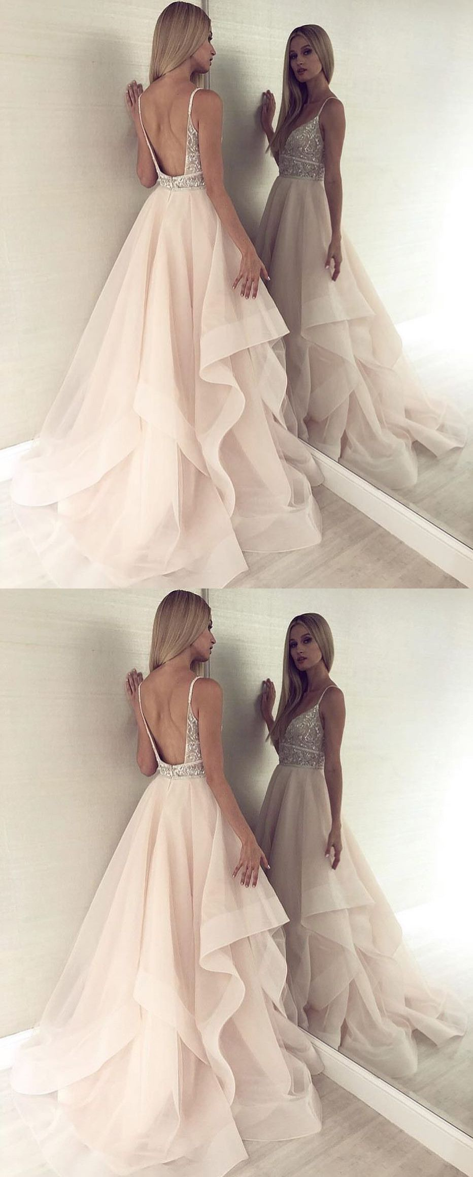 Elegant Light Champagne Tulle Prom Dresses 596200f35