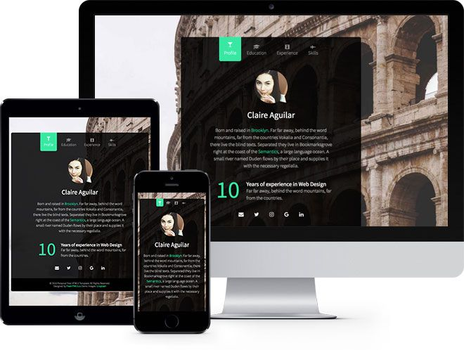 Personal free html5 bootstrap website template free responsive personal is a free bootstrap website template that is good for resume and vcard templates it has a smooth fade in and fade out effect upon clicking yelopaper Image collections