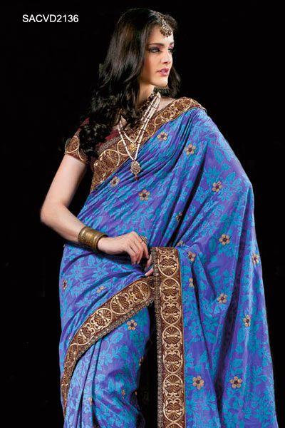 Brilliant Blue Flora Jacquard Saree