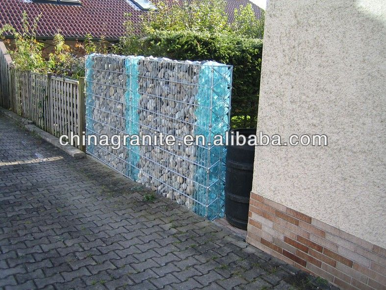 Landscaping Dark Blue Glass Rock Fence Design Modern