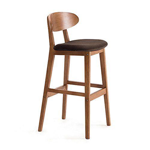 Solid Wood Bar Chair Creative Chairs European Style Back Simple Retro Stool High