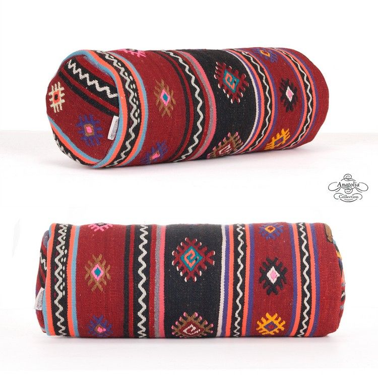 Embroidered Cylinder Throw Pillow Handmade Bolster Kilim Pillowcase  Decorative Boho Style Round Sofa Couch Cushion Cover