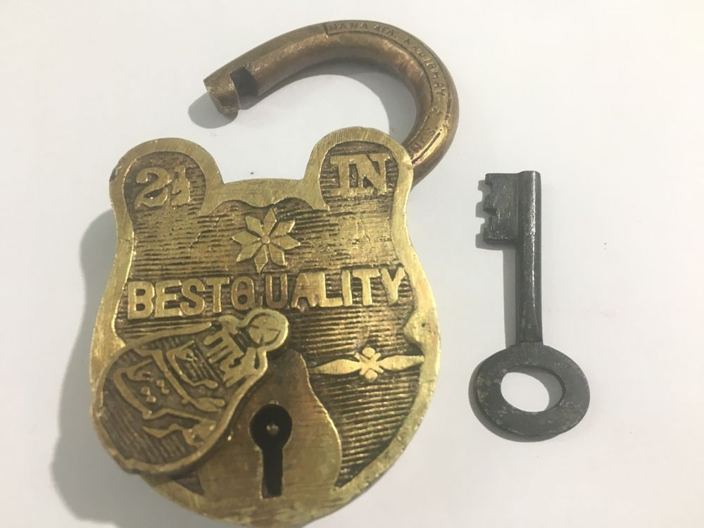 Old Antique Collectible Carved Rich Patina Solid Padlock With Key Best Quality Old Antiques Antiques Carving