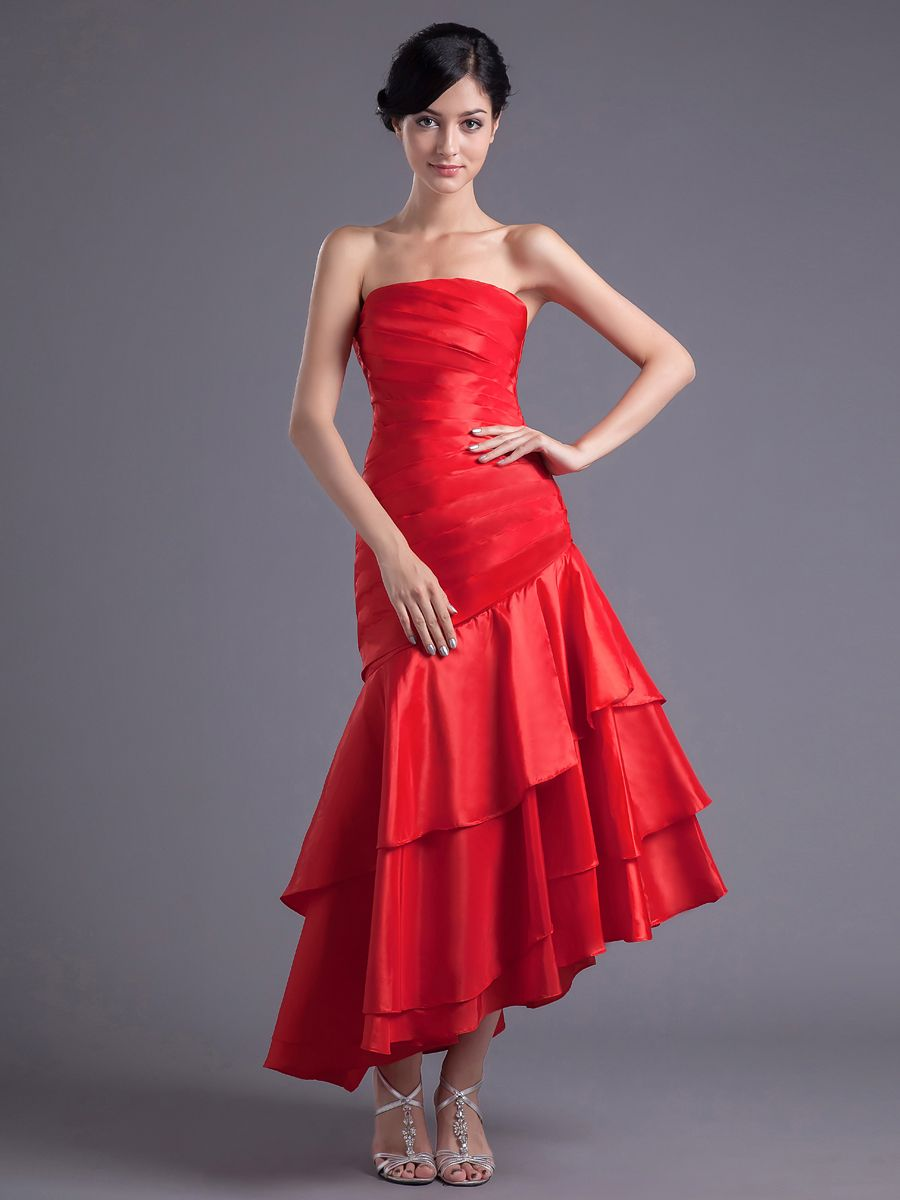 Strapless elastic satin tea length party dress with ruched bodice
