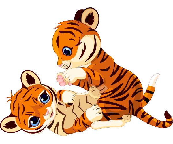 Tigers Play Cartoon Tiger Tiger Illustration Baby Clip Art