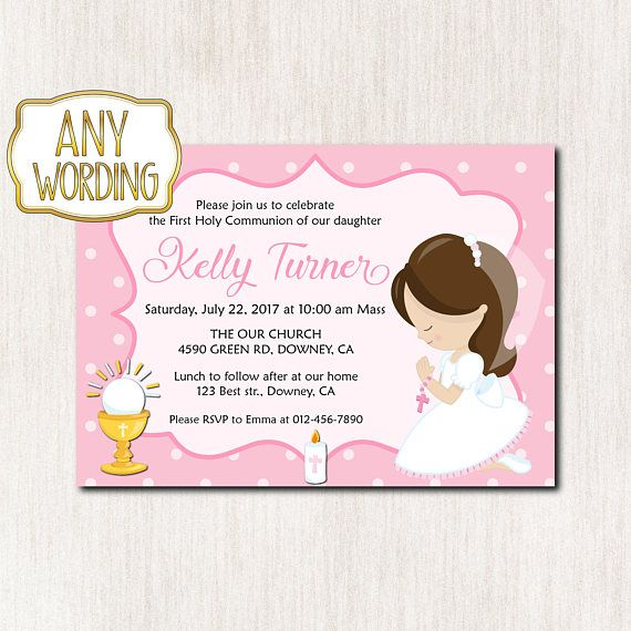 Girl First Communion Invitation First Holy Communion First - best of invitation wording lunch to follow