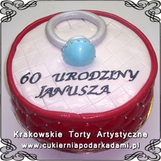 069. Tort na 60 urodziny z pierścionkiem. Cake for 60th birthday with a ring.