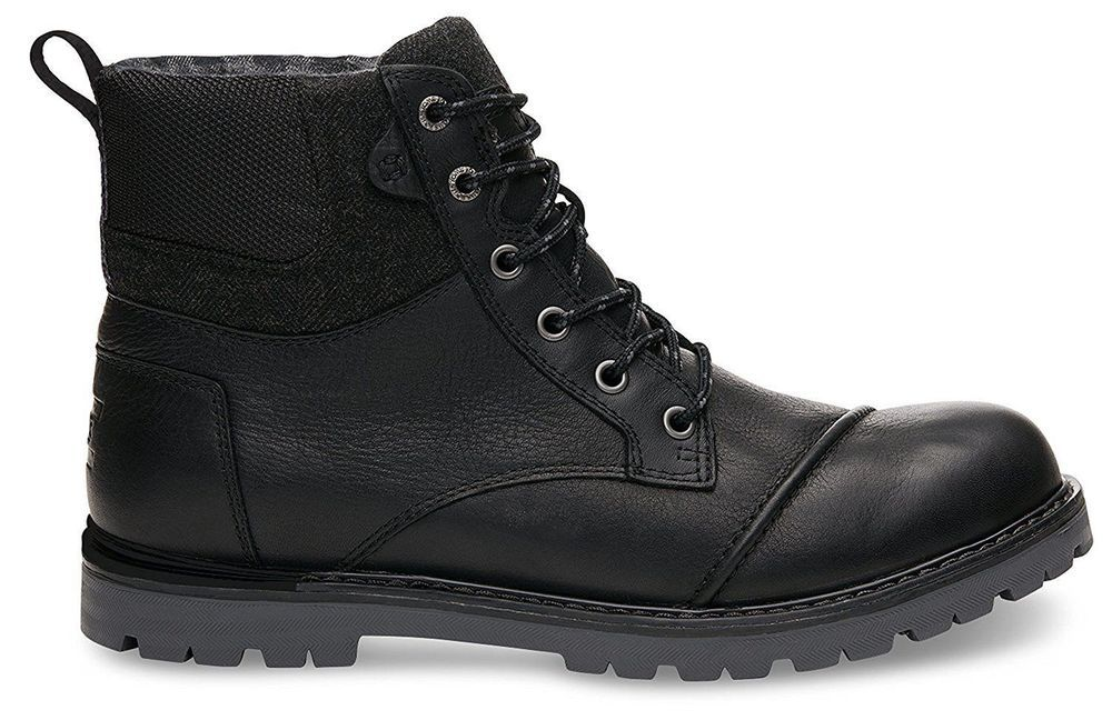 10009123-001 TOMS Mens Ashland Boot 12 D M Black Hiking Tie Up Boots Shoes NEW  #TOMS #Causal