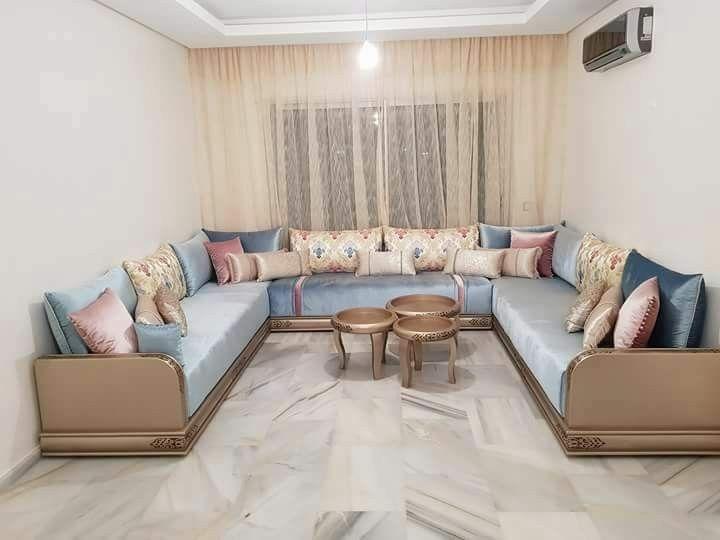 Salon bleu eau 2 in 2019 | Living room sofa design, Moroccan ...