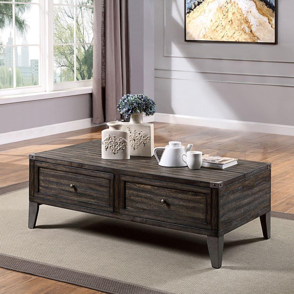 Furniture Of America Sete Industrial Oak 2 Drawer Coffee Table Wood Veneer Dark Oak Brow Coffee Table Living Room Table Sets Coastal Living Room Furniture [ 1000 x 1000 Pixel ]