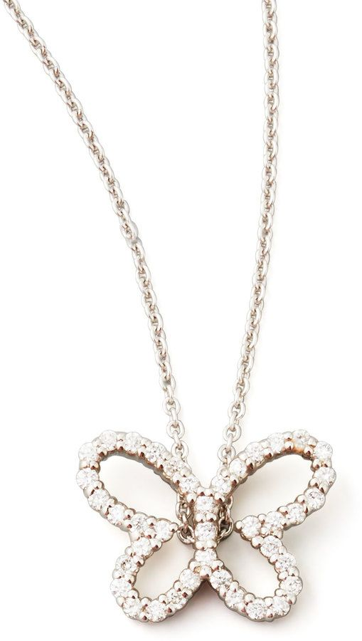 f6a626718 Roberto Coin 18k White Gold Diamond Butterfly Pendant Necklace on shopstyle .com