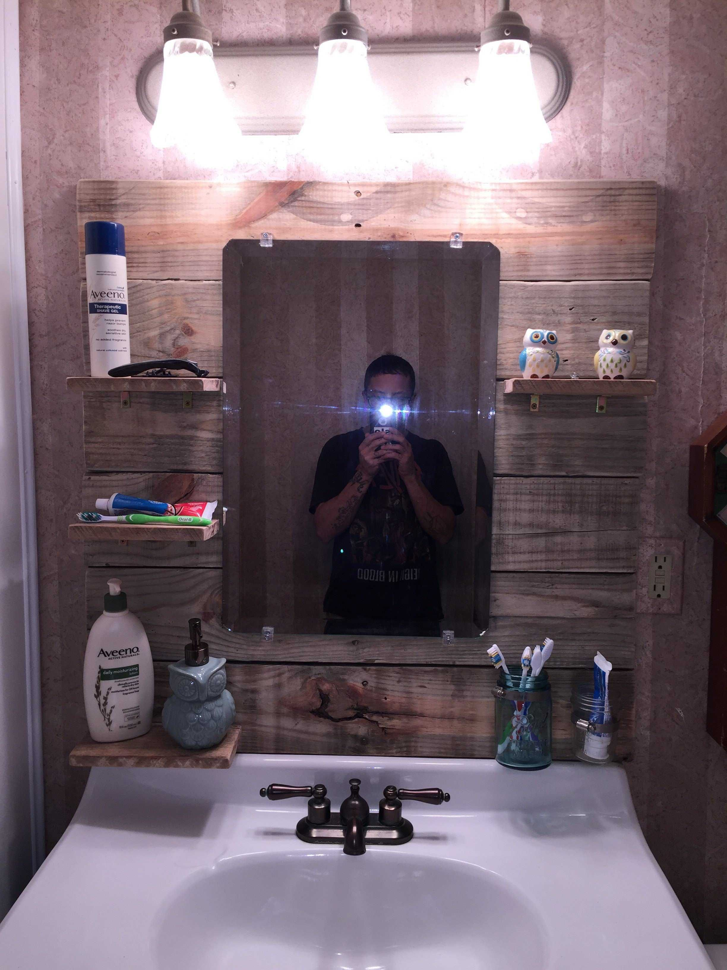 project bathroom pin cabinet medicine pine boards pallets mirror cabinets replacement and