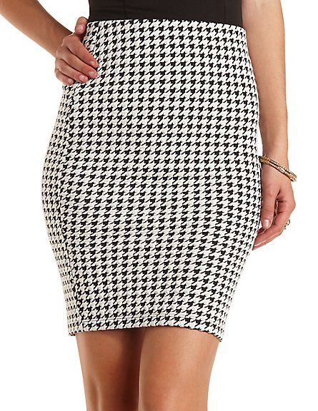 Jacquard Houndstooth Pencil Skirt: Charlotte Russe #charlotterusse #charlottelook