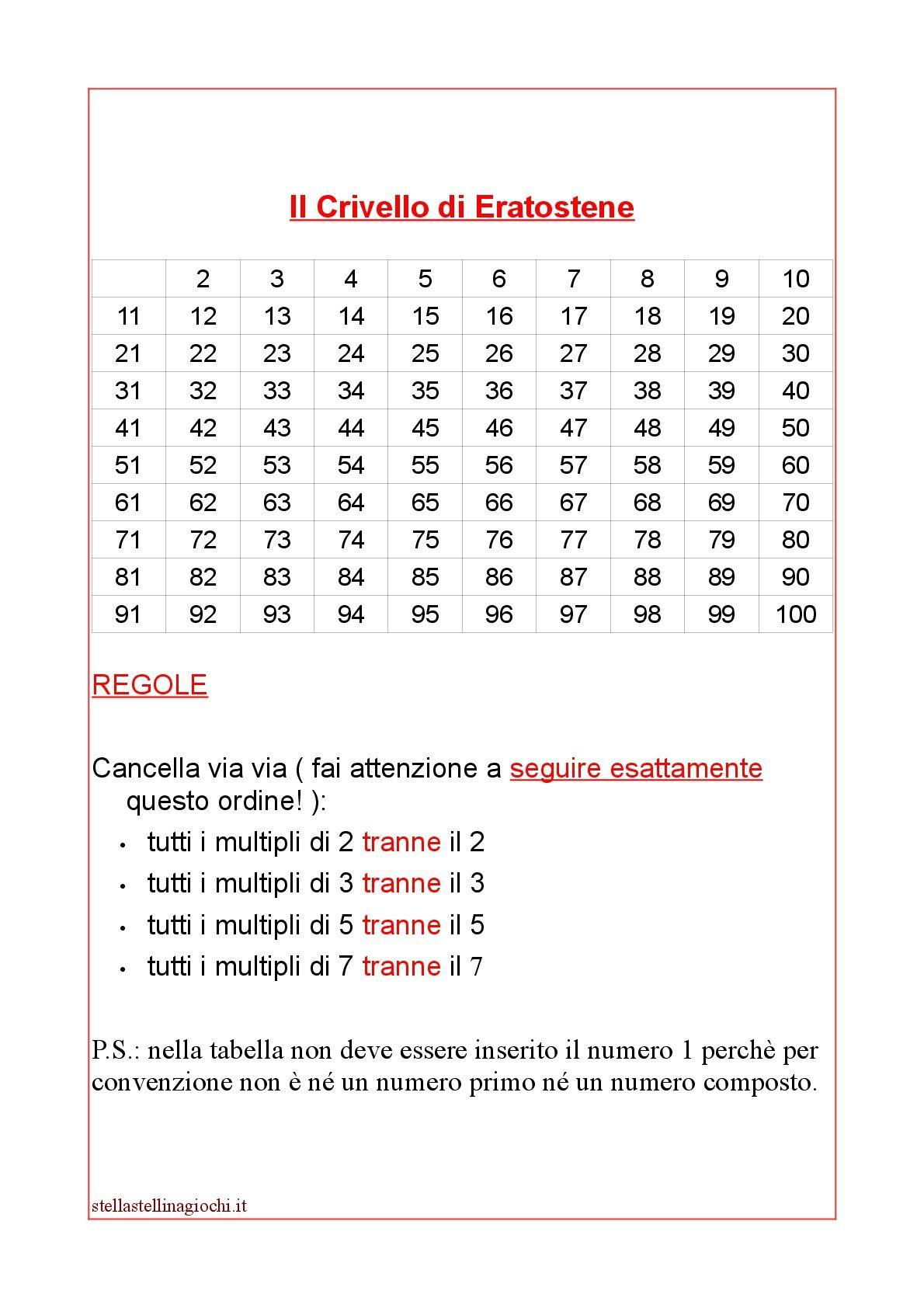 Schede didattiche di matematica. Numeri primi e numeri ...