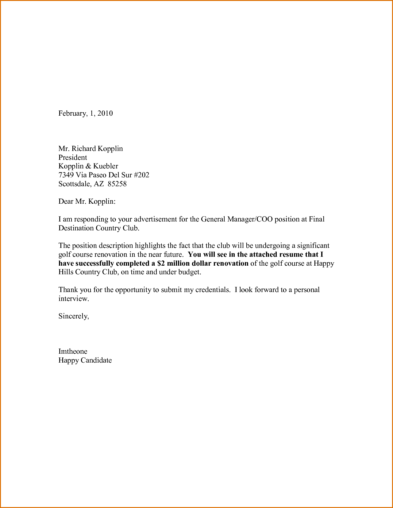Secretary Cover Letter No Experience Example For A