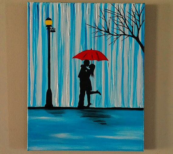 Couple In Rain PaintingCouple Kissing The Wall Artcouple With Red Umbrella Paintingcouple SilhouetteKiss ArtBirthday Gift