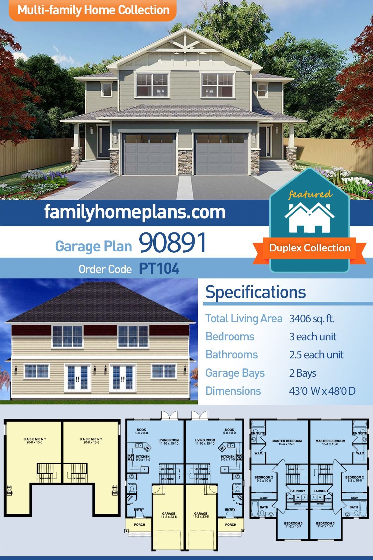 Duplex House Plan -Craftsman Style Side by Side - Investment Property #craftsmanstylehomes