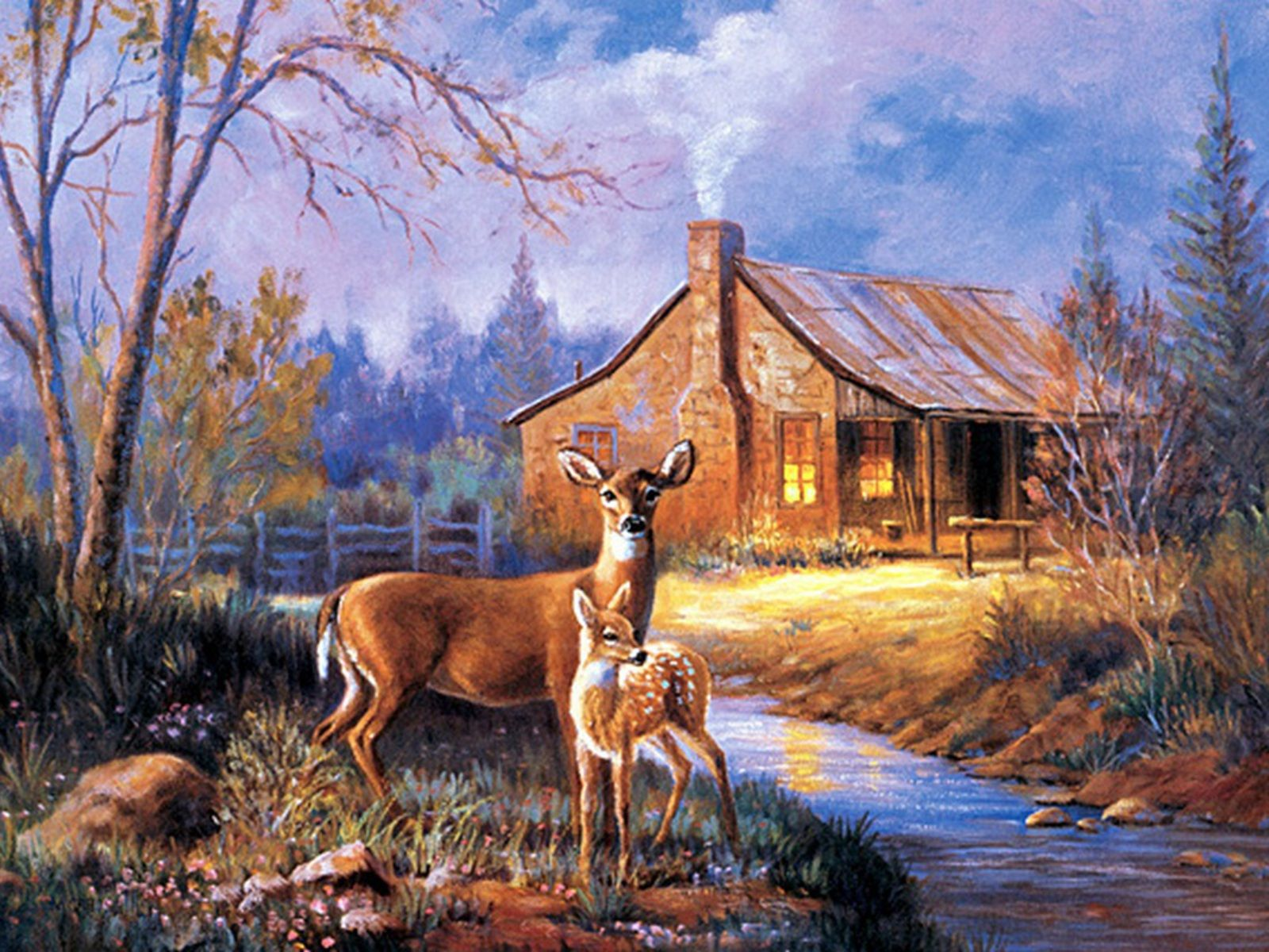 High Definition And Wallpapers Deer . Wild Life Kinkade Paintings