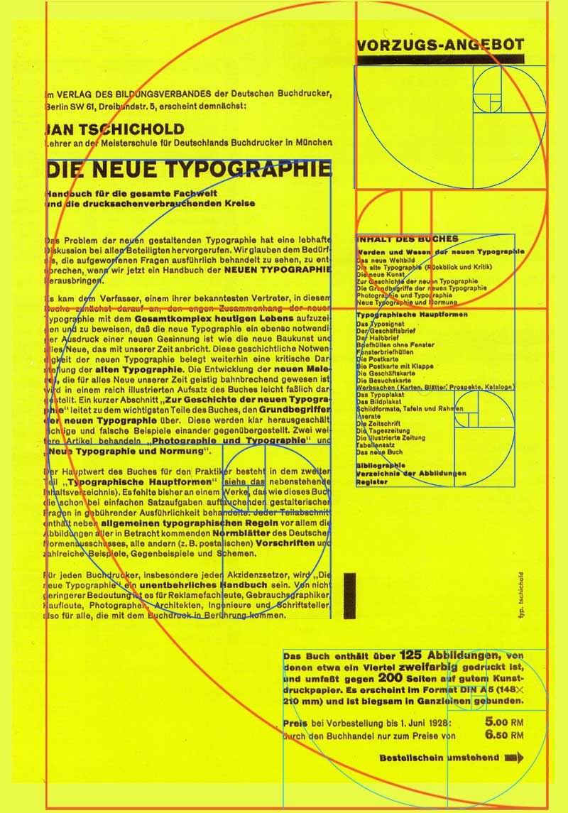 from  u0026quot the new typography u0026quot  with golden spiral  ratio