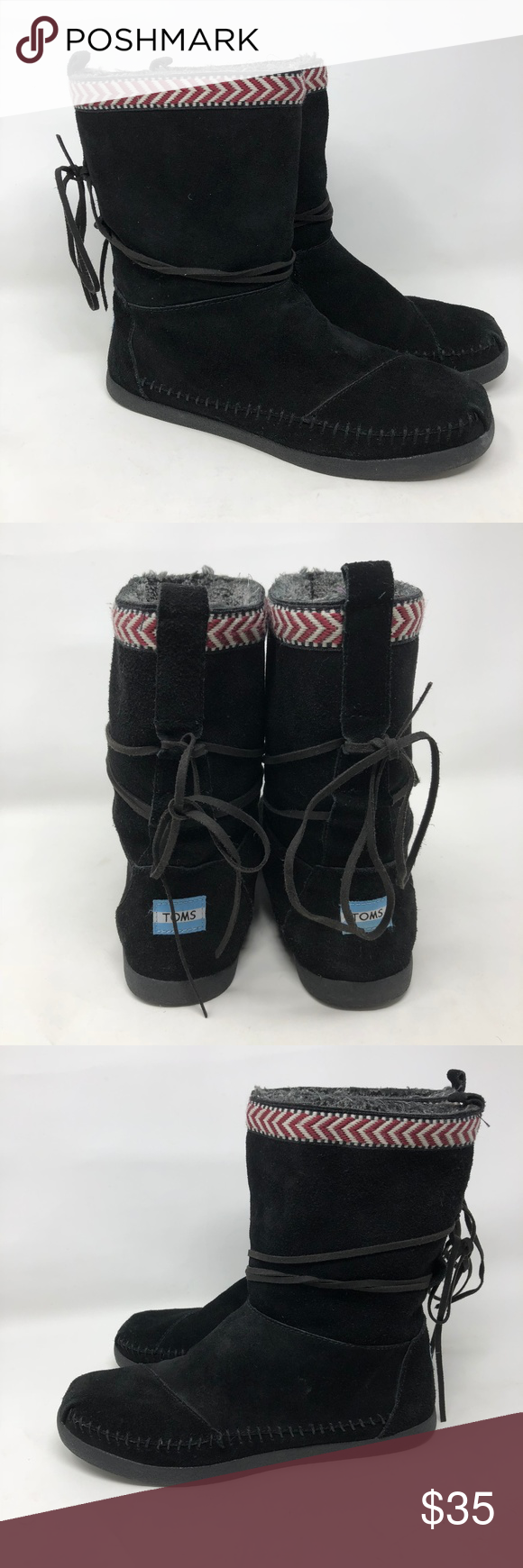 8e45076f274f0 TOMS Black Suede Winter Boots 9 -TOMS black suede pull on winter boots - Embroidered around top -Size 9 -Ties wrap around -Sherpa lined Toms Shoes  Winter ...