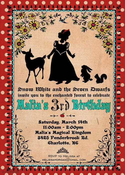 Another nice Snow White party invitation idea – Snow White Party Invitations