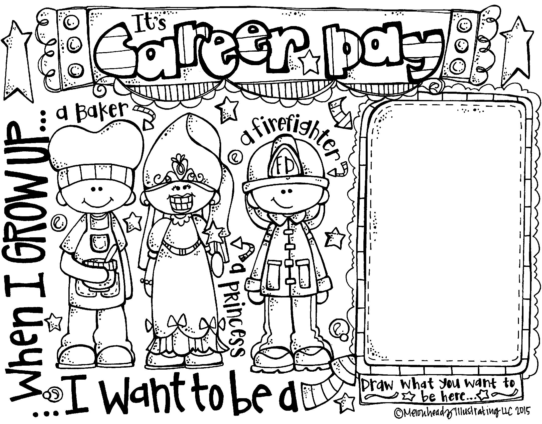 Career Day Coloring Page Freebie By Melonheadz Career Day Career Exploration Career Lessons