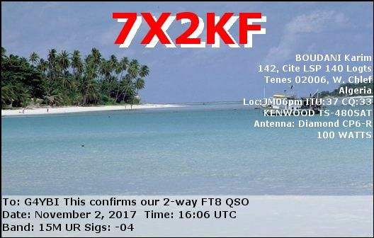 eQSL From 7X2KF | QSL Cards | Beach, Outdoor, Water