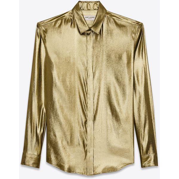 4bc056c1 Saint Laurent Classic Gold Lamé Shirt ($1,090) ❤ liked on Polyvore ...