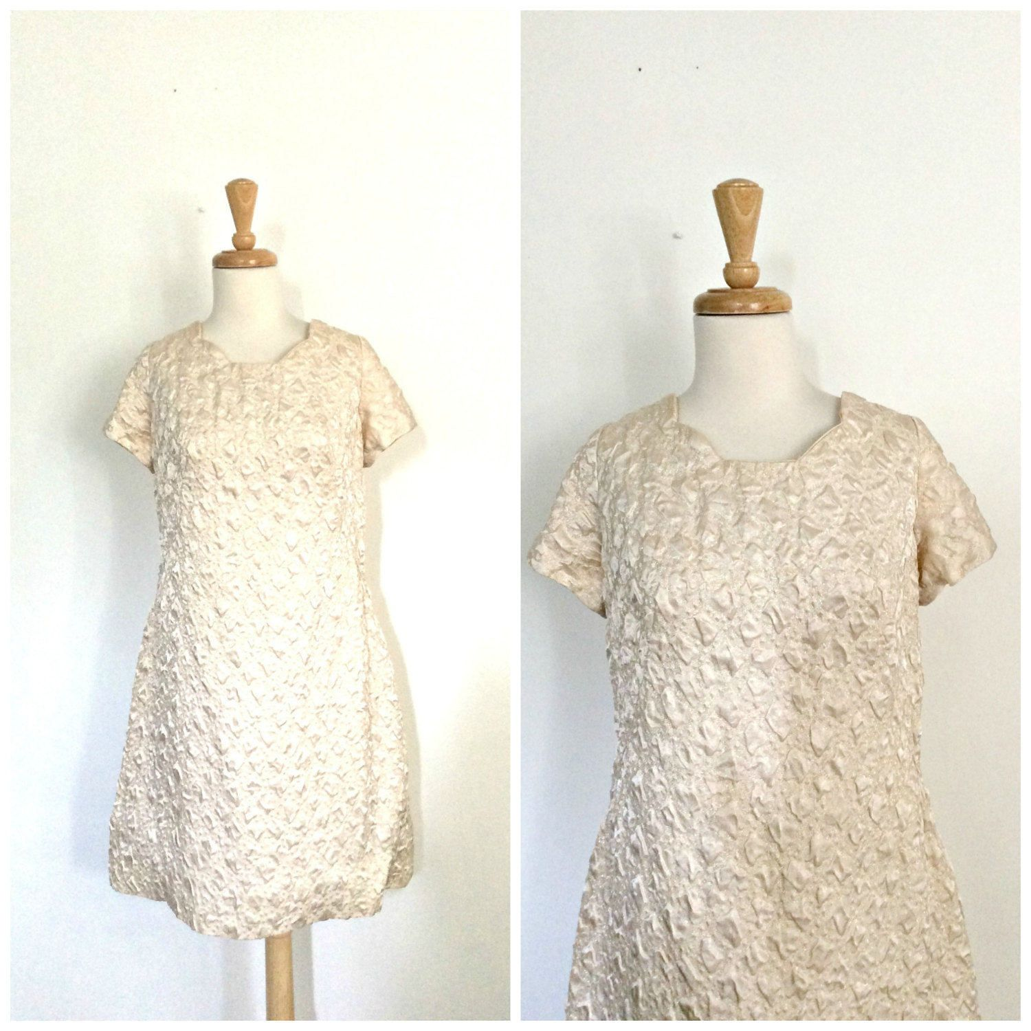 Vintage s dress champagne satin party dress short sleeve