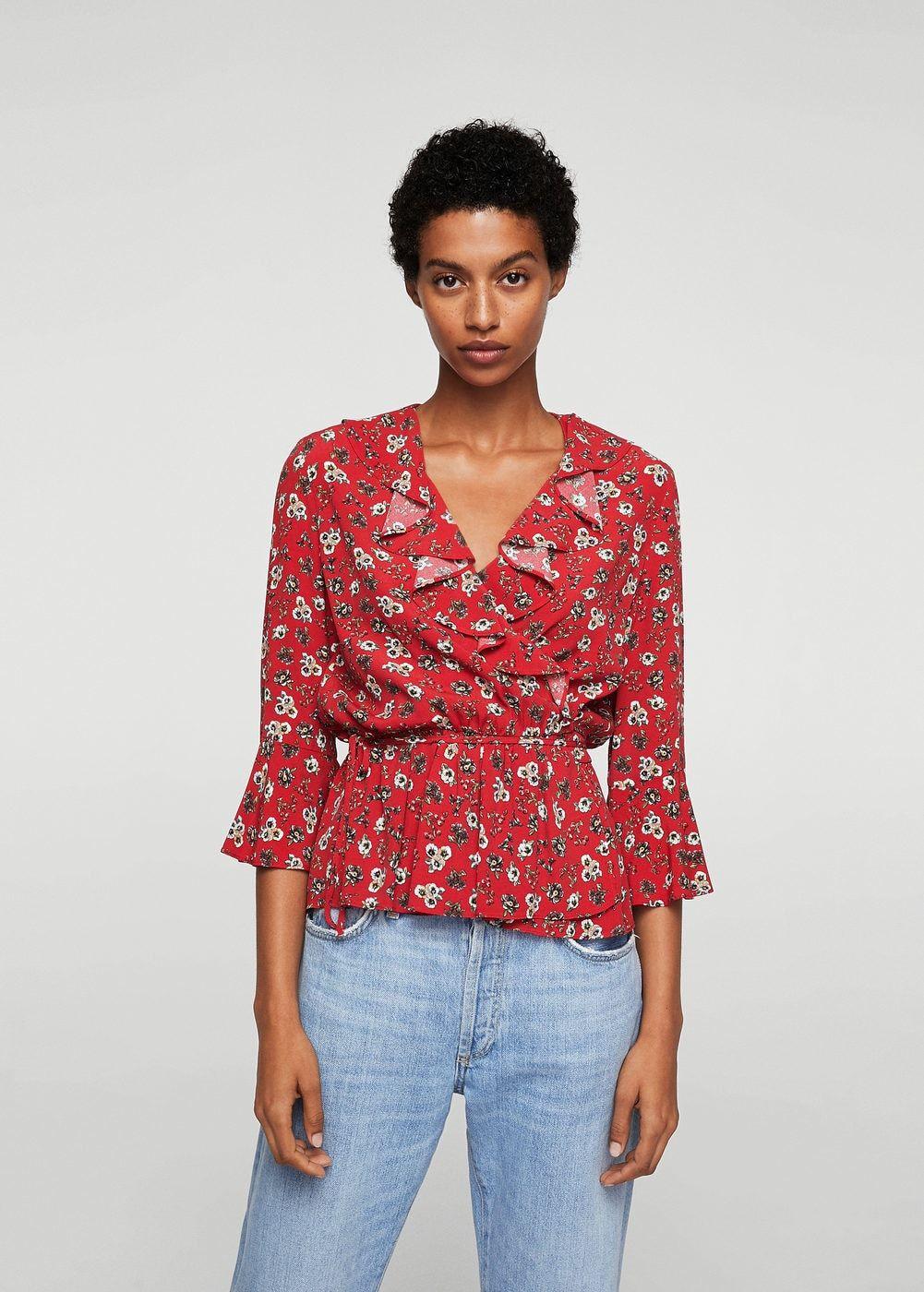 a9aa70583deb24 Fırfırlı çiçekli bluz - Kadın