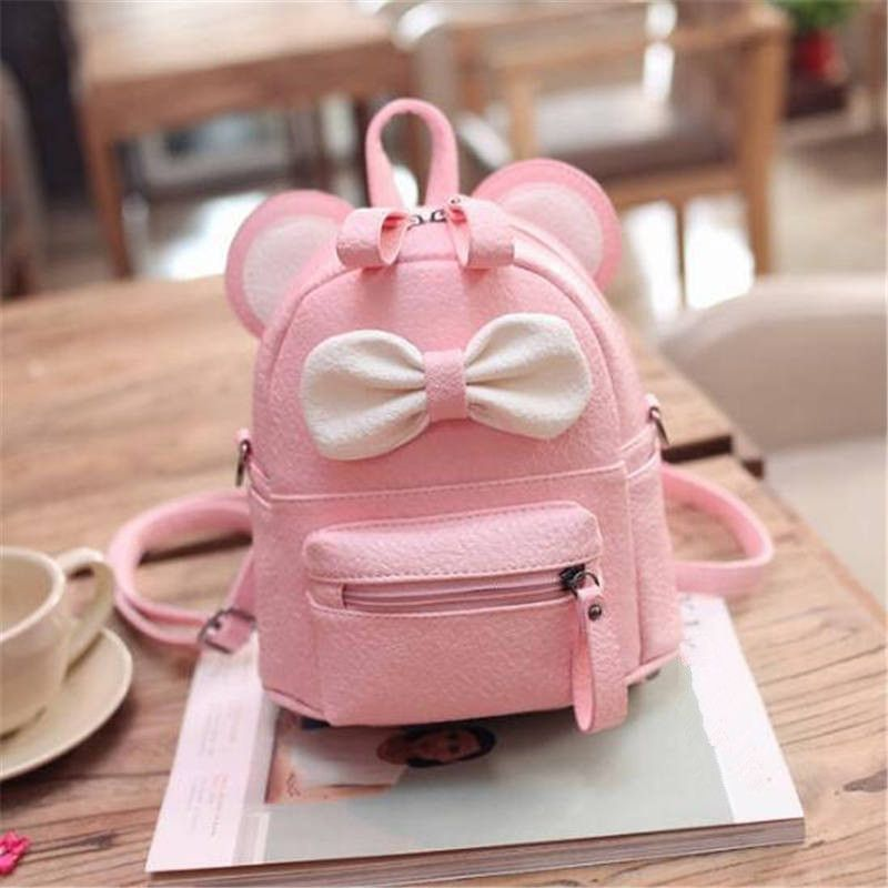 78ea50ea5a Super Cute 2016 Candy-Colored Mini Mouse Ear Leather Backpack w Bowknot  Accent 4 Colors