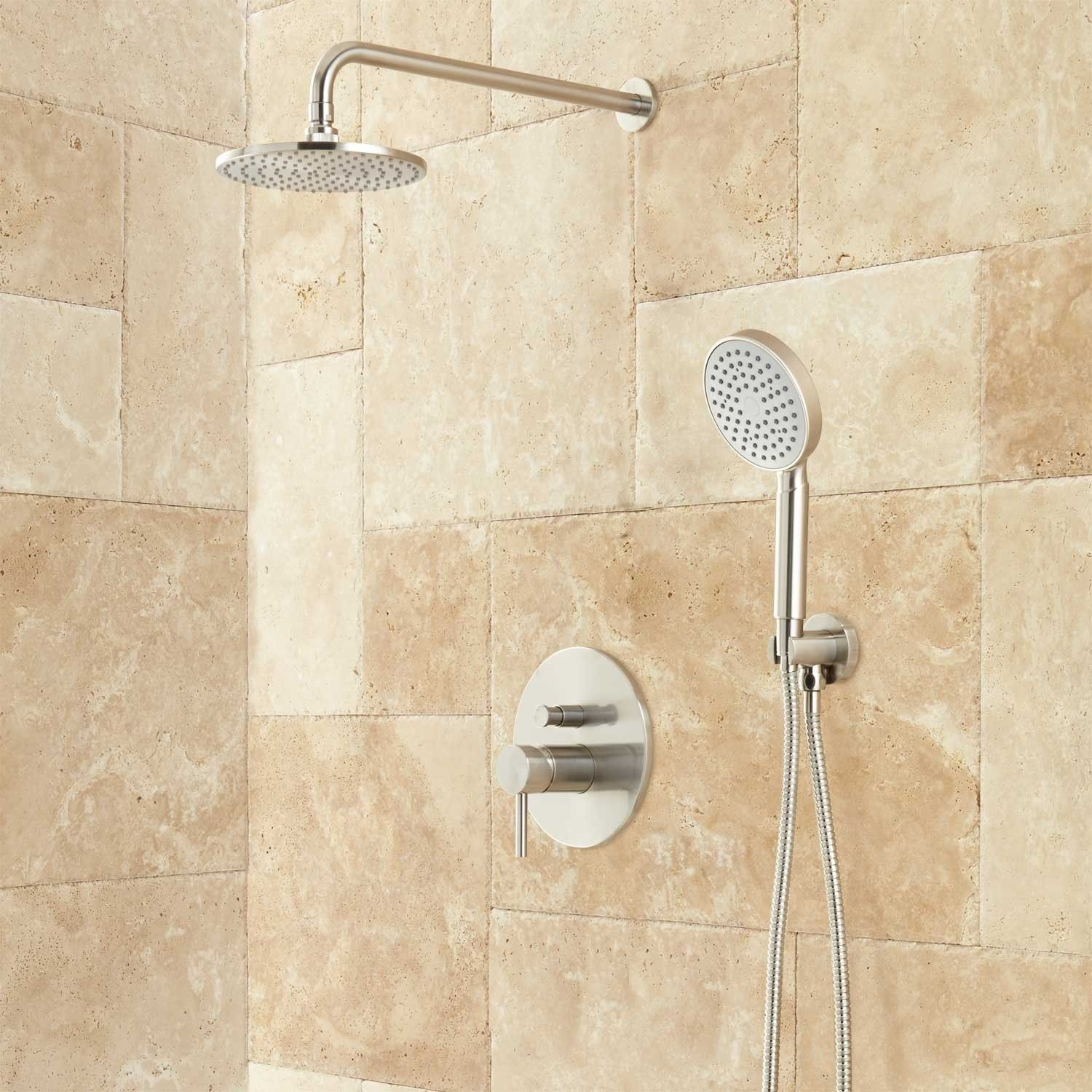 Lattimore Shower System with Rainfall Shower Head & Hand Shower ...