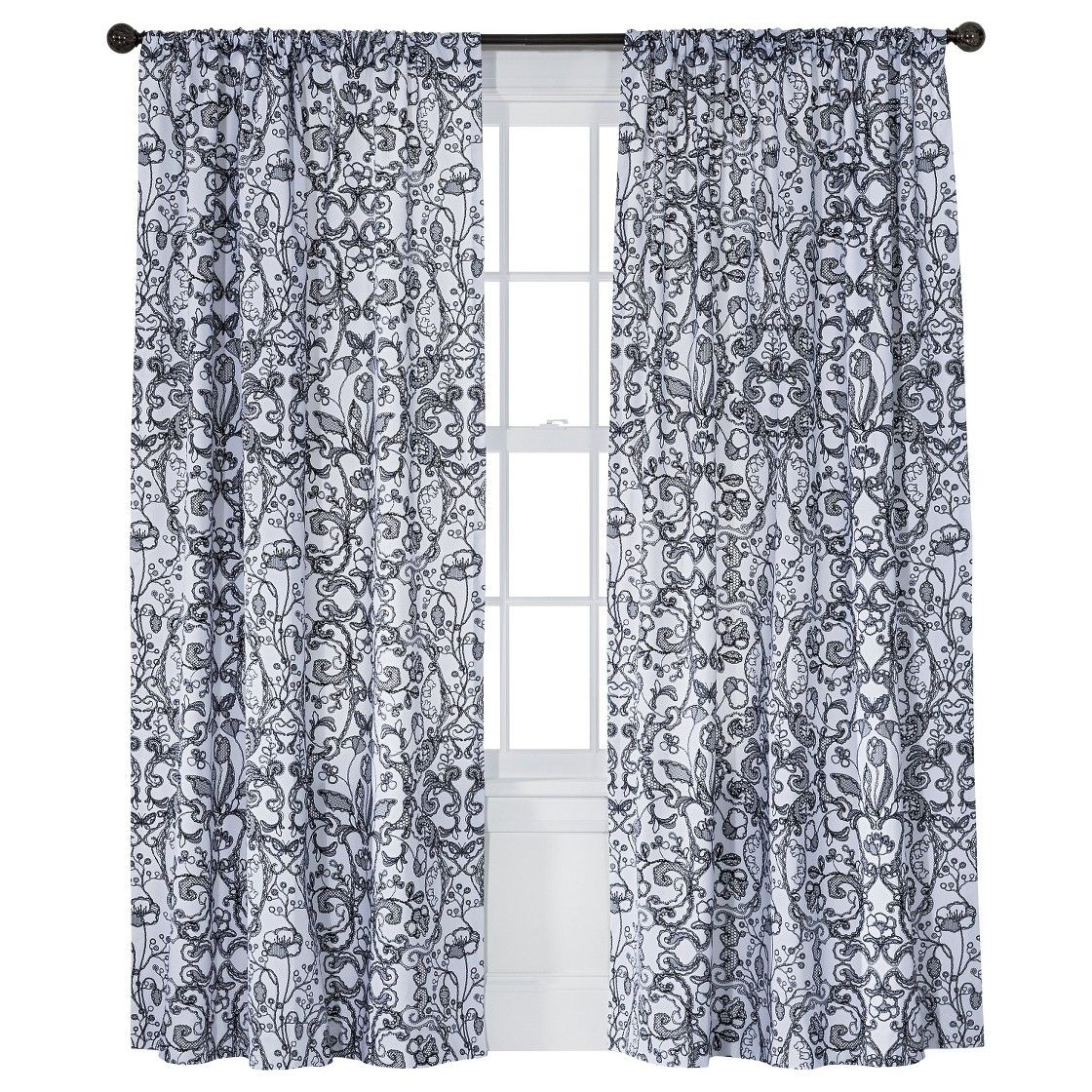 Xhilaration Lace Curtain Panel Black 50x84 Lace Window