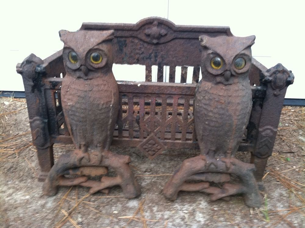 Owl andirons with amber glass eyes Antique fireplace
