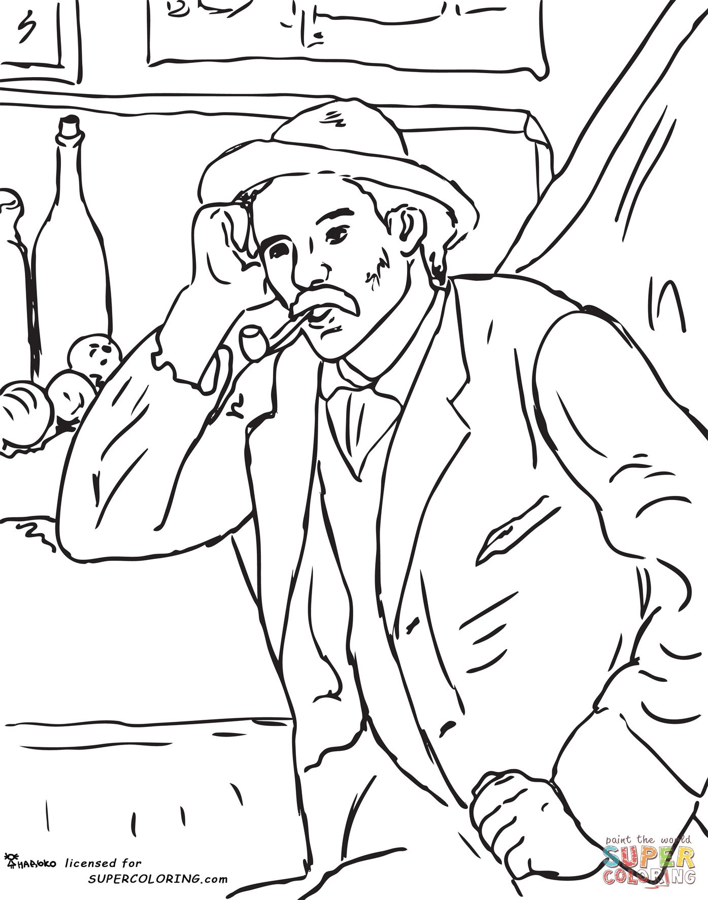 Man with a Pipe by Paul Cezanne coloring page | SuperColoring.com ...