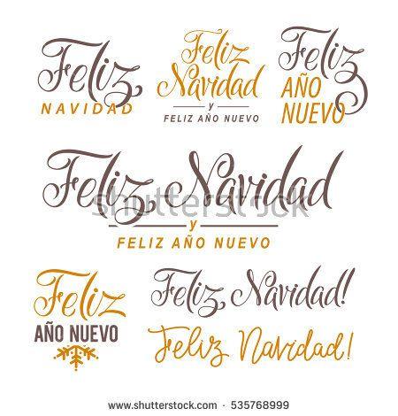 Feliz Navidad Hand Lettering Text Set Greeting Card Design Template - greeting card template