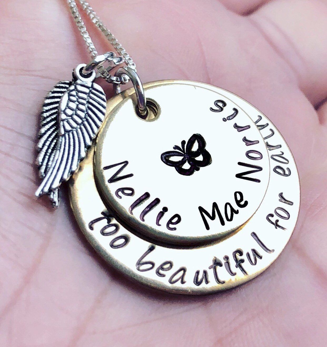 In memory of Baby Infant Loss Gift Baby Rose Footprint  Memorial Angel Sympathy NeckacesMothers