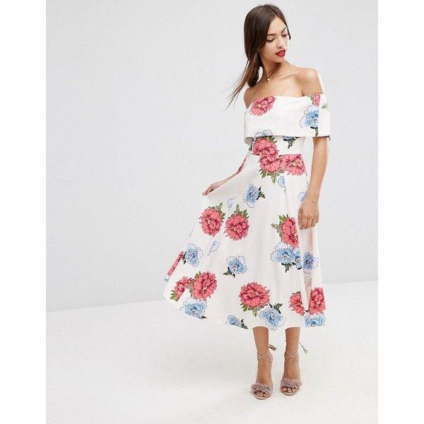 Simple Wedding Dresses Asos: ASOS Premium Off The Shoulder Bardot Midi Prom Dress In