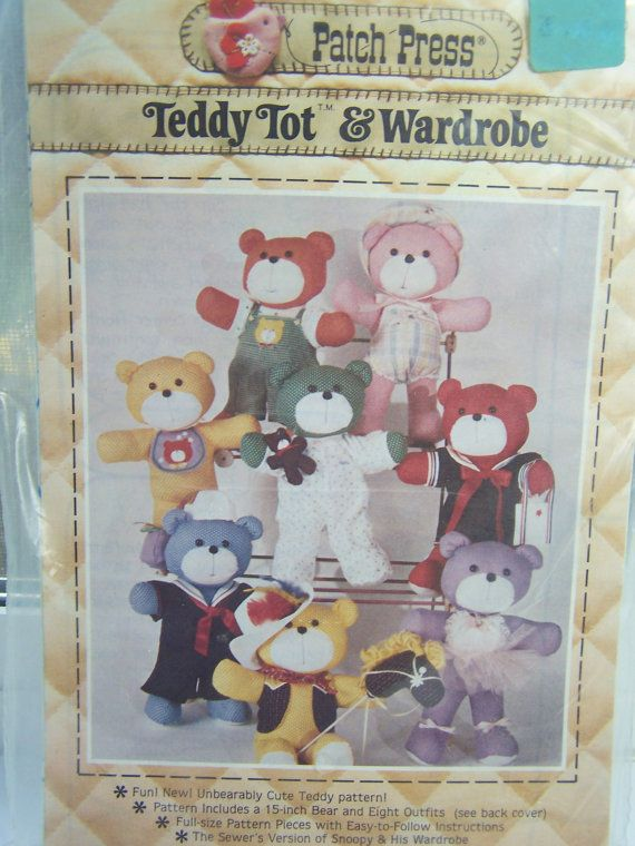 Teddy Bear Sewing Pattern Patch Press 15 Stuffed by WitsEndDesign ...