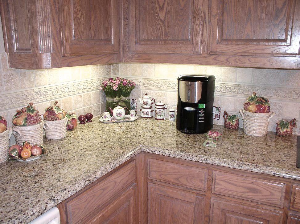 backsplash with giallo ornamental granite | Giallo Ornamental Backsplash |  Ornaments | Custom Designs