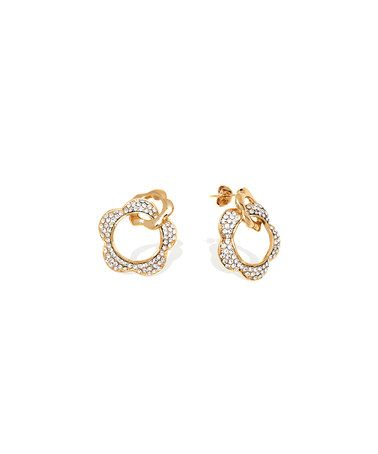 Another great find on #zulily! Gold & Crystal Open Double-Flower Drop Earrings #zulilyfinds