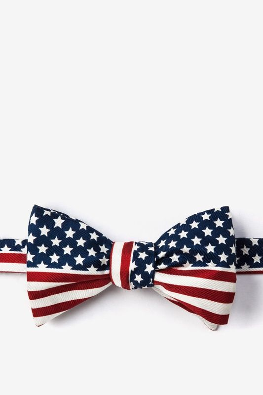 Navy Blue Silk American Flag Butterfly Self Tie Bow Tie Ties Com American Flag Bow Silk Bow Ties Flag Bow Tie