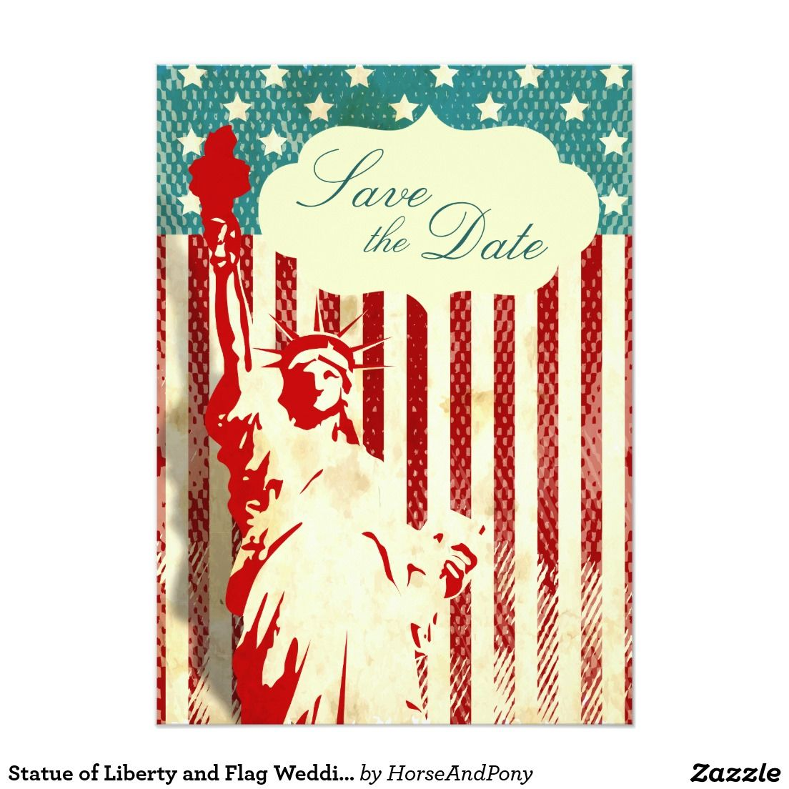 Statue of Liberty and Flag Wedding Save the Date Card   Liberty ...