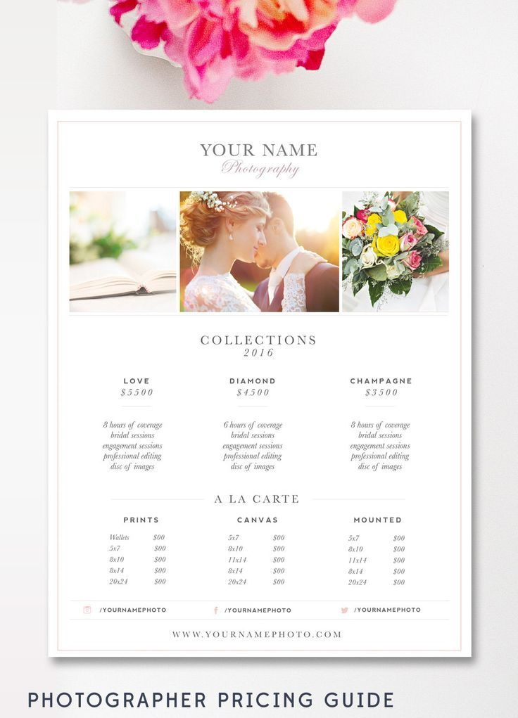 Wedding Photography Price List - Photography Price Sheet - PSD File - Price Sheet Template