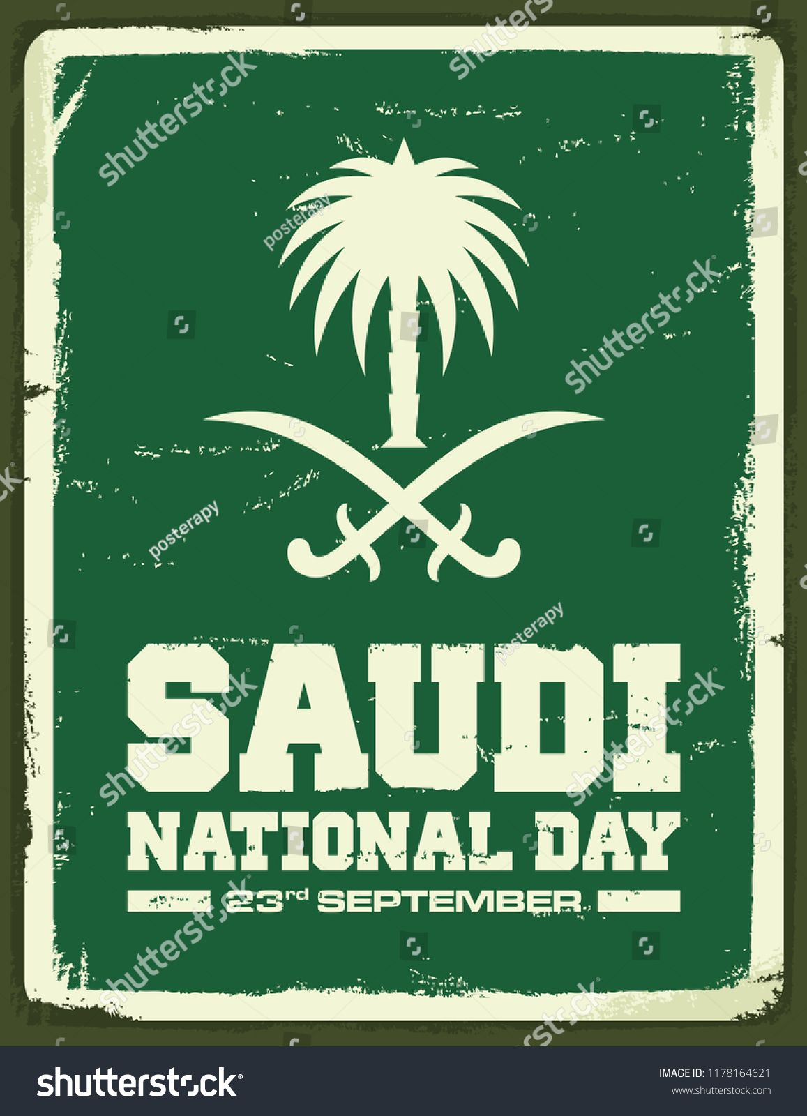 Greeting Card Kingdom Of Saudi Arabia National Day Retro Vintage Poster Vector Illustration Eps 08 Arabia National Day Saudi Vintage Posters National Day